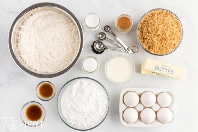 ingredients for cut out cinnamon cookies