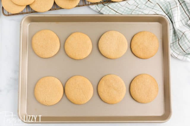 cut out cookies on a baking sheet