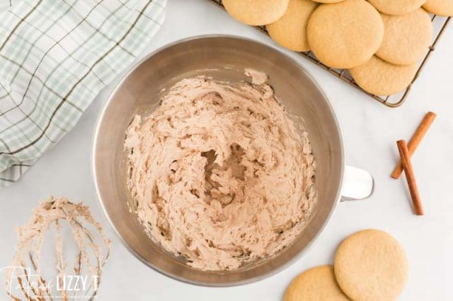 cinnamon buttercream in a mixing bowl