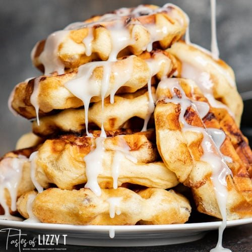 plate full of waffles with glaze