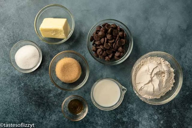 ingredients for edible cookie dough on a table