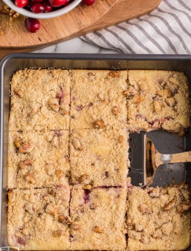 overhead view of cranberry cream cheese bars in a pan