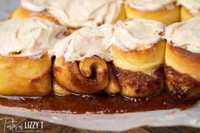 4 cinnamon rolls with frosting