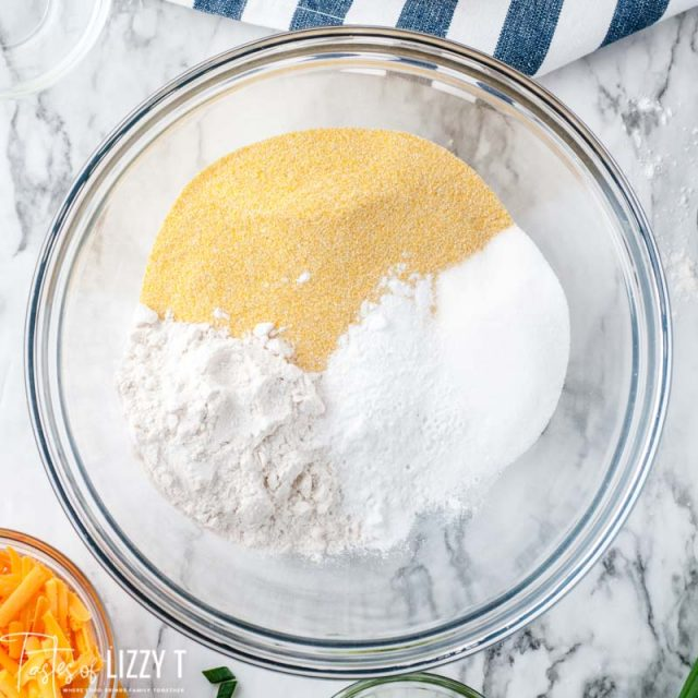 dry ingredients for cornbread in a bowl