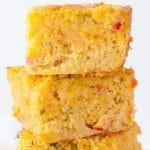 closeup of a stack of cornbread