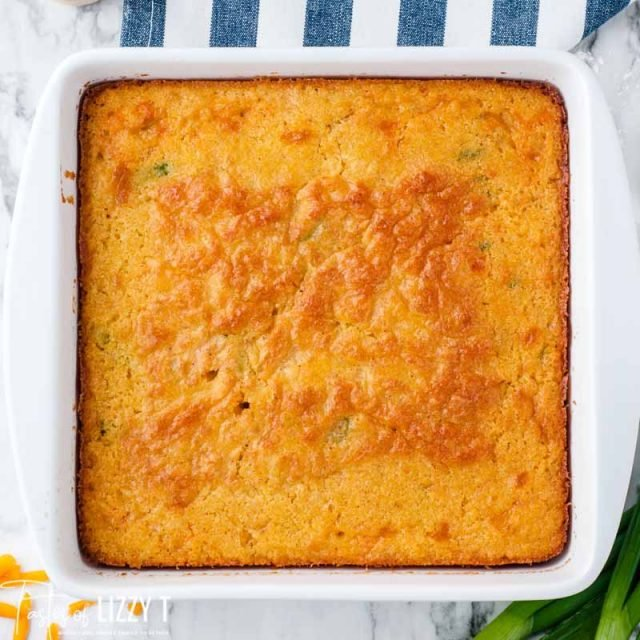 overhead view of a pan of cornbread