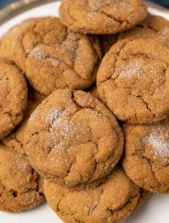 plate full of molasses cookies