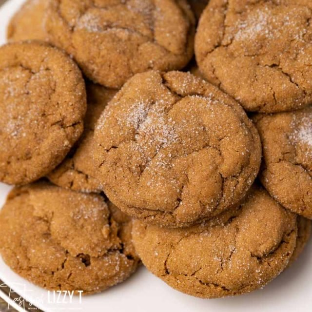 plate of soft baked gingerbread cookies