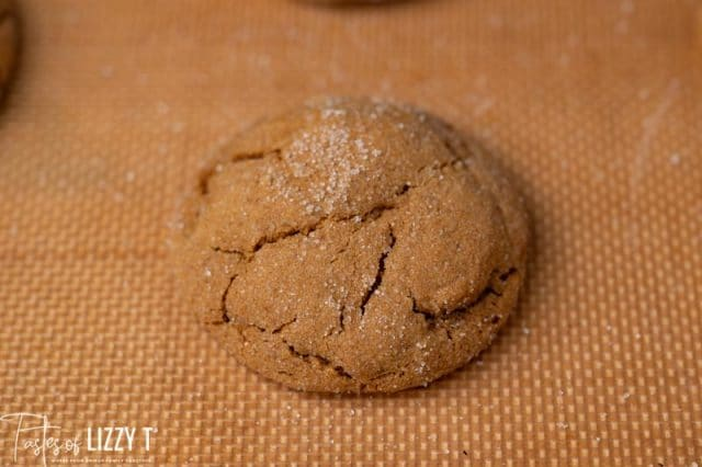 soft gingerbread cookie on a baking mat