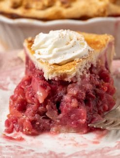piece of cranberry pear pie with one bite missing