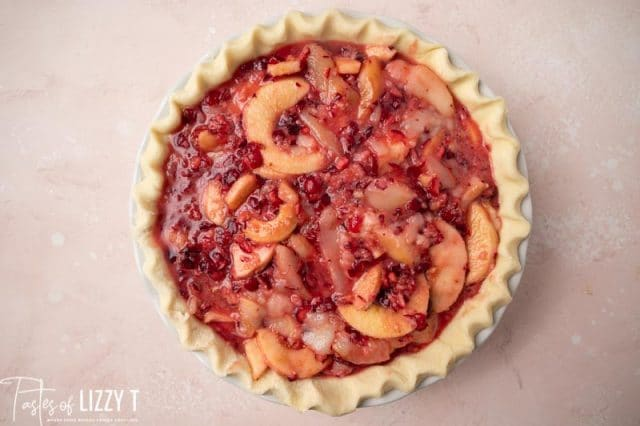 unbaked cranberry pear pie without a top crust