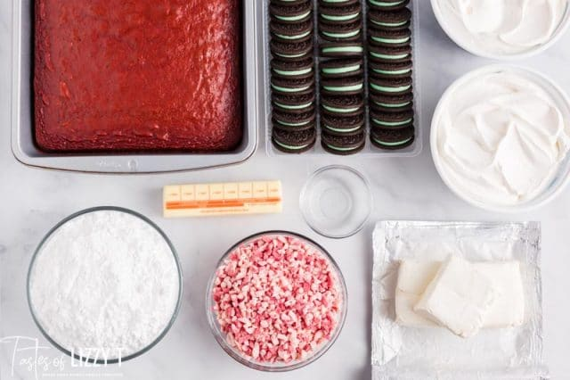 ingredients for peppermint cheesecake trifle on a table