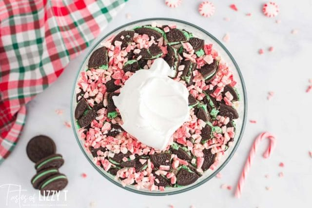 overhead view of peppermint candies with cool whip on top