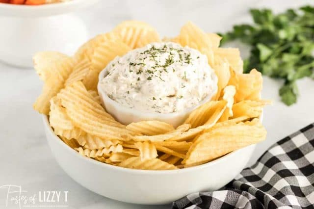 creamy chip dip in a bowl