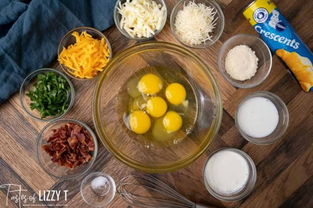 ingredients for bacon cheese egg souffles on a table