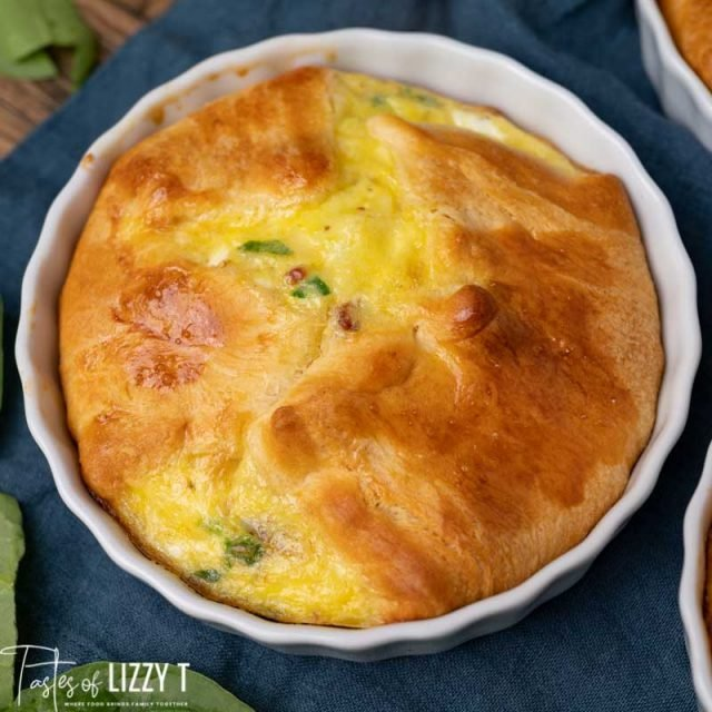closeup of an egg souffle in a dish