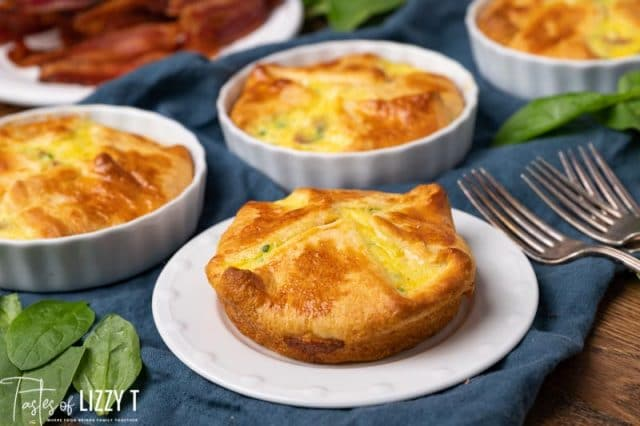 egg souffles in dishes on a table