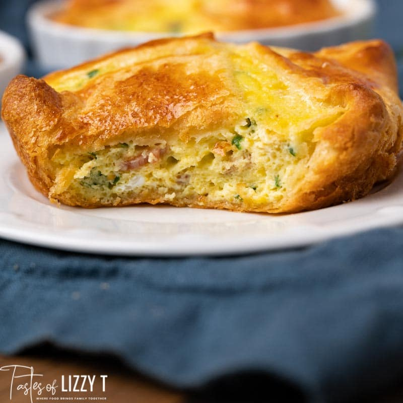 egg souffle on a plate with one bite out