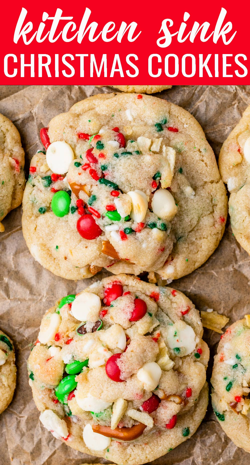 Christmas Kitchen Sink Cookies loaded with pretzels, chips, M&Ms and white chocolate will brighten your Christmas cookie plate! via @tastesoflizzyt