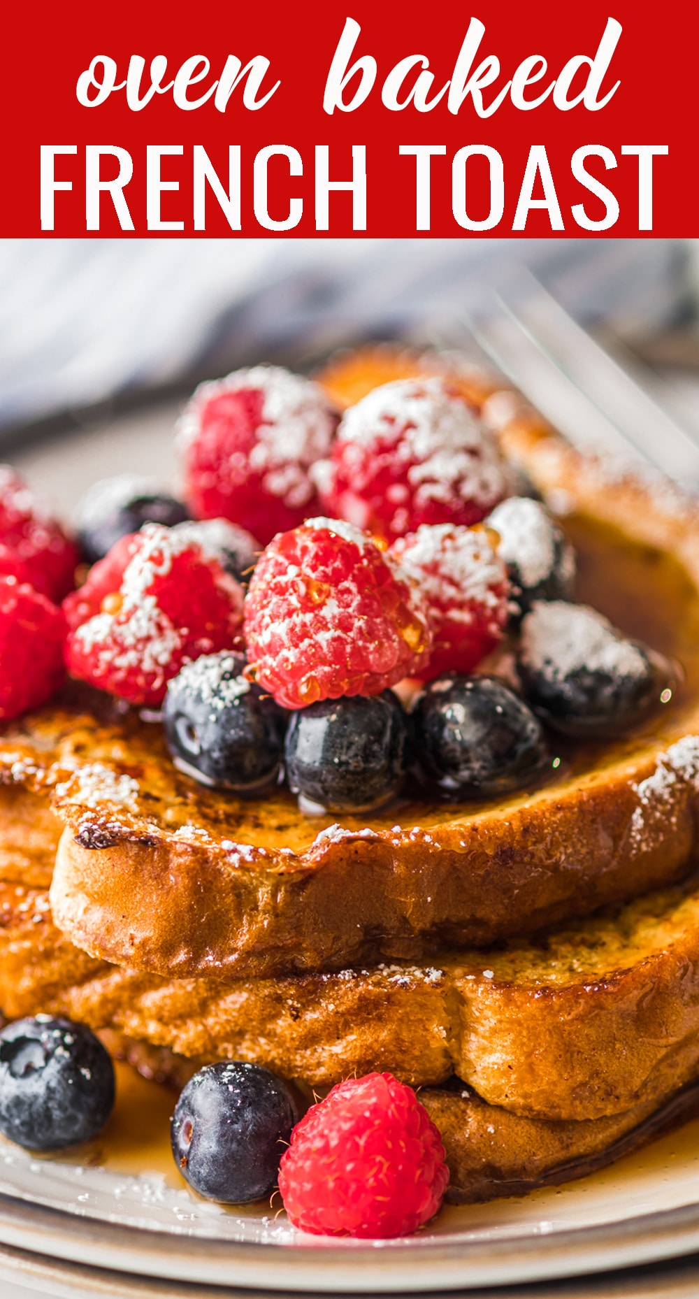This no-fuss french toast is made on a sheet pan and baked for the perfect breakfast. Pour the custard in the pan and let the bread soak it up before baking. via @tastesoflizzyt