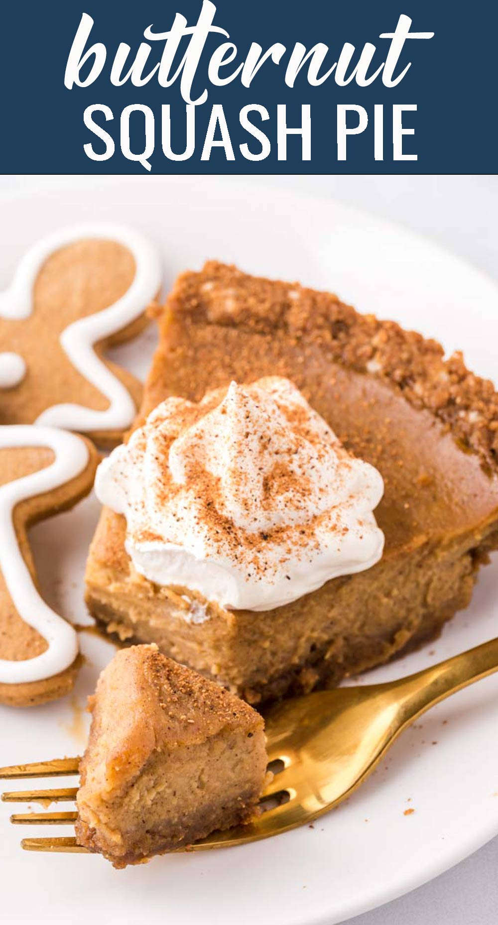Switch up your holiday pies and try this lightly sweetened Butternut Squash Pie with a gingerbread cookie crust. An old recipe made new! via @tastesoflizzyt