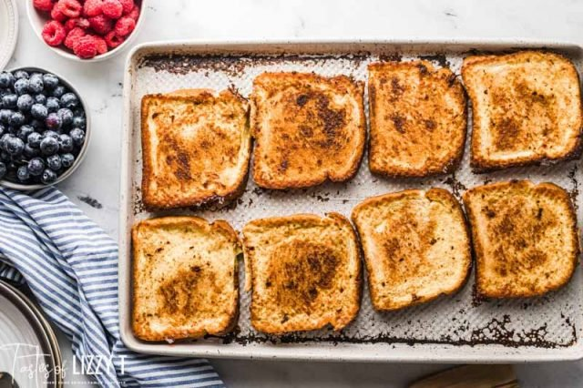 french toast on a baking sheet