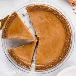 butternut squash pie cut in two slices