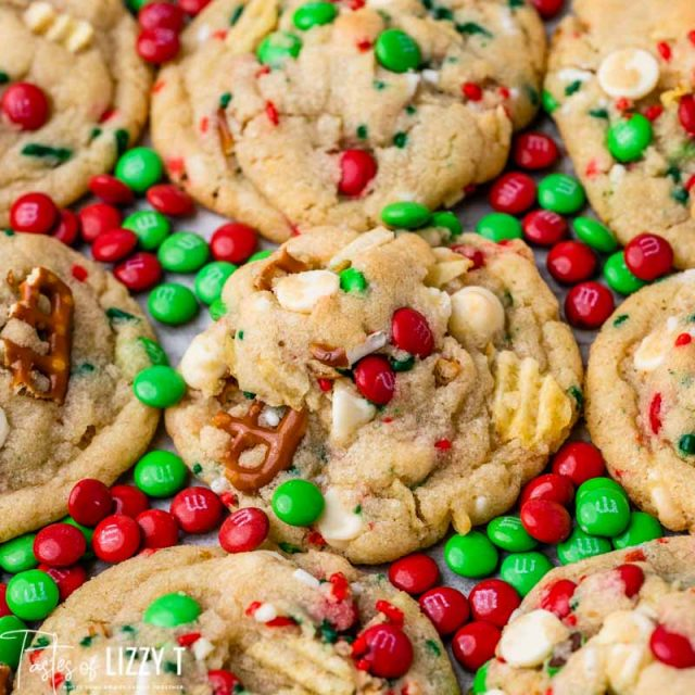 christmas cookies with M&Ms