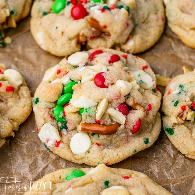 thick christmas cookie with M&Ms