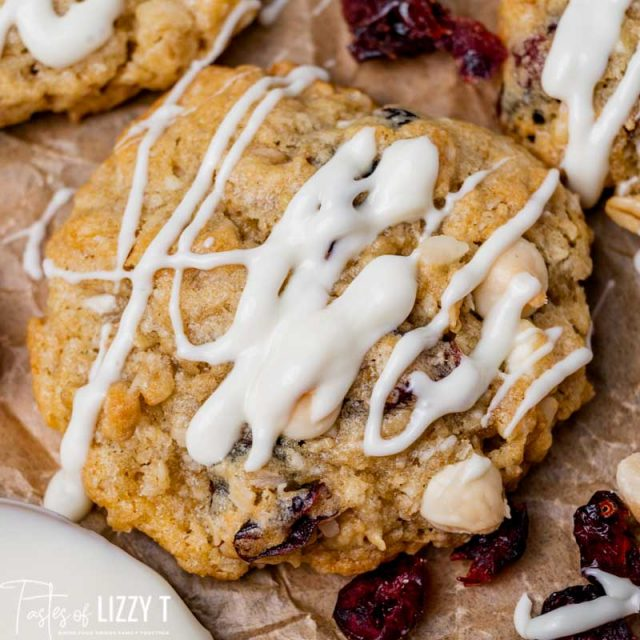 white chocolate cranberry cookie close up