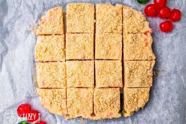 overhead view of cut cheesecake bars