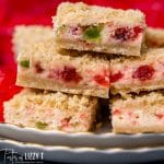 closeup of merry cherry cheesecake bars