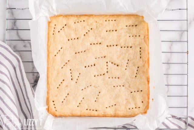 shortbread in a baking pan