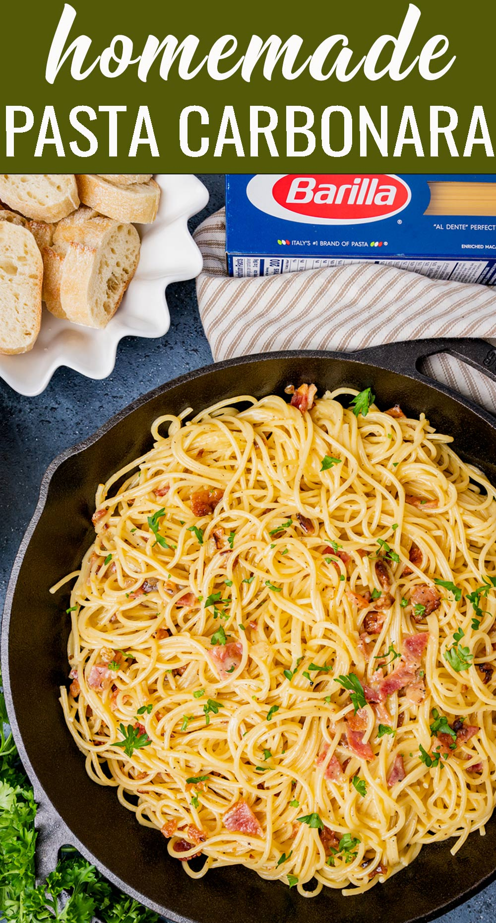 Keep your holiday entertaining easy with this 8 ingredient Pasta Carbonara. Hints on how to make this traditional pasta dish that your family will love. via @tastesoflizzyt