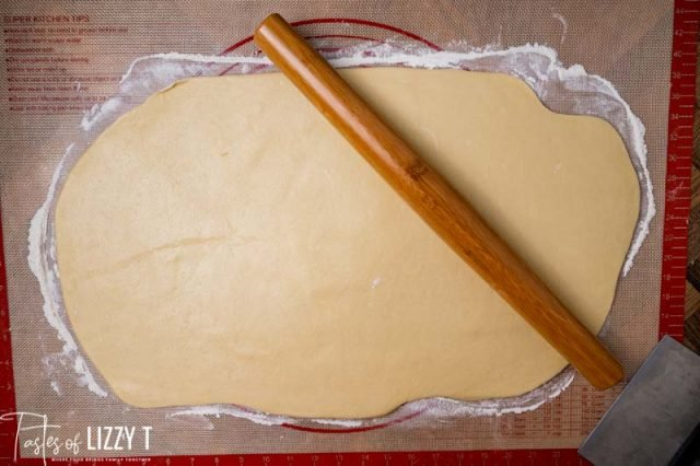 rolled out dough for cinnamon rolls