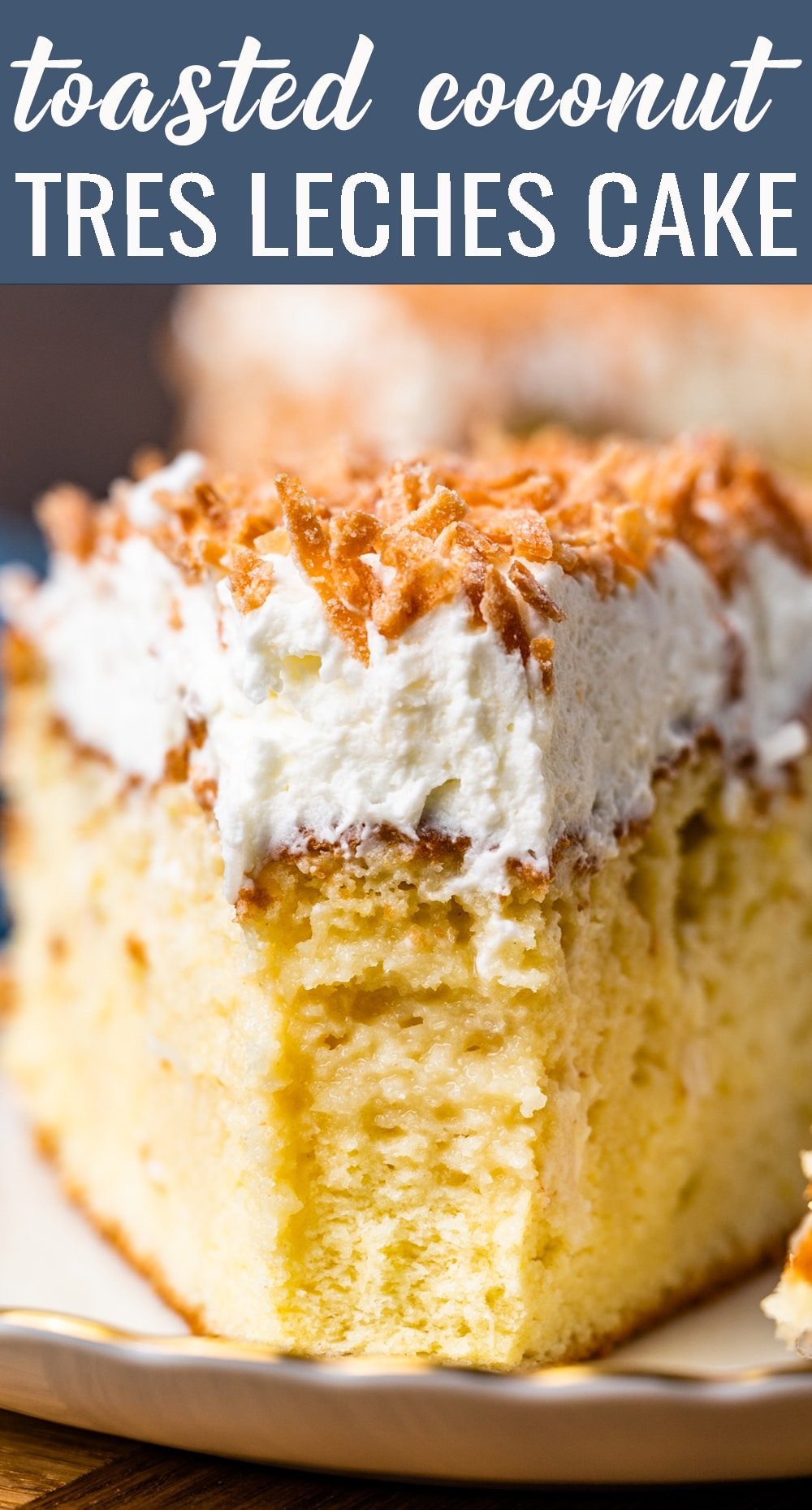 Toasted Coconut Tres Leches Cake is a sponge cake soaked in three milks and topped with a delicate whipped topping and flaked coconut. via @tastesoflizzyt