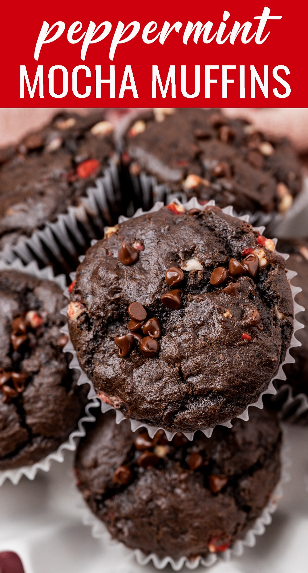 Love peppermint mocha coffee? You'll love these Peppermint Mocha Muffins that are double the chocolate and double the peppermint. via @tastesoflizzyt