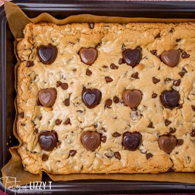 overhead view of congo bars in a baking pan