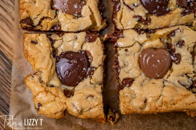 overhead view of melted cookie bars