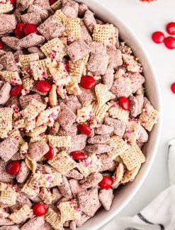 overhead view of valentine puppy chow in a bowl