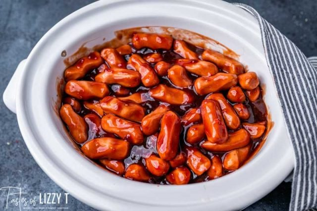 uncooked lil smokies in a slow cooker