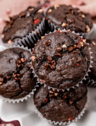pile of peppermint mocha muffins