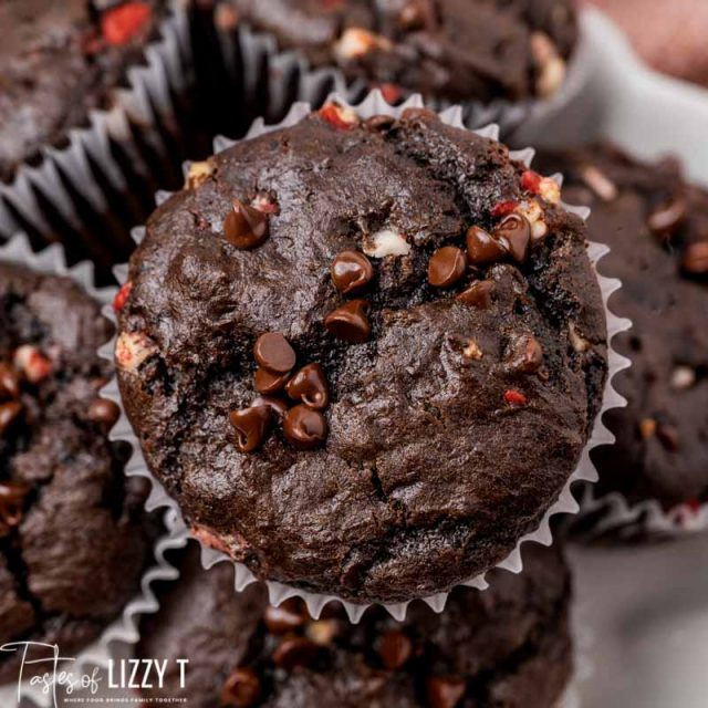 closeup of chocolate muffin