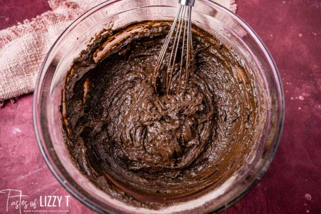 chocolate muffin batter in a bowl