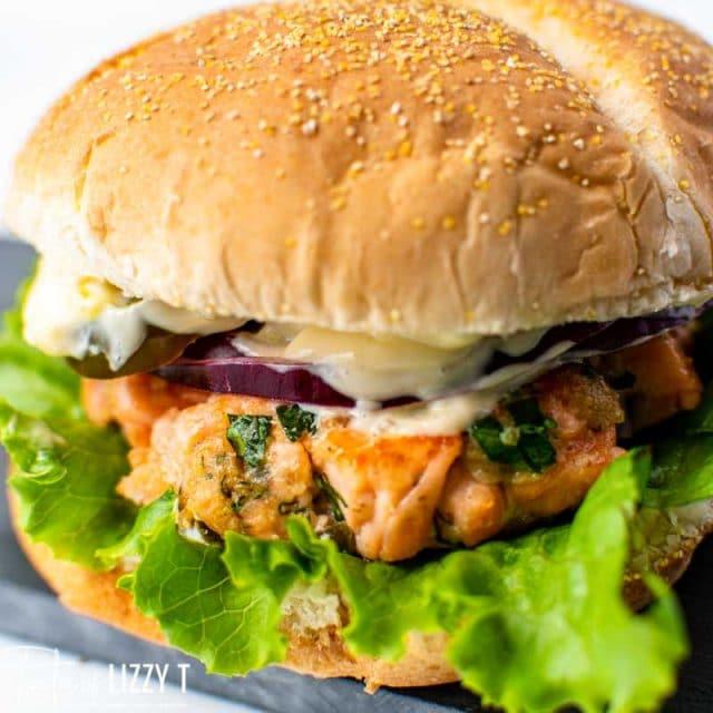closeup of a salmon sandwich