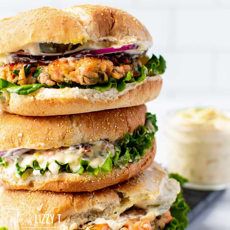 stack of 3 salmon burgers