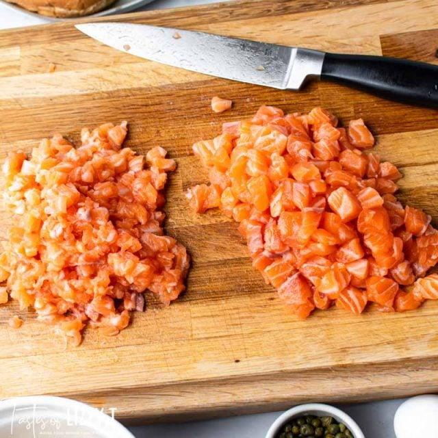 chopped salmon on a cutting board