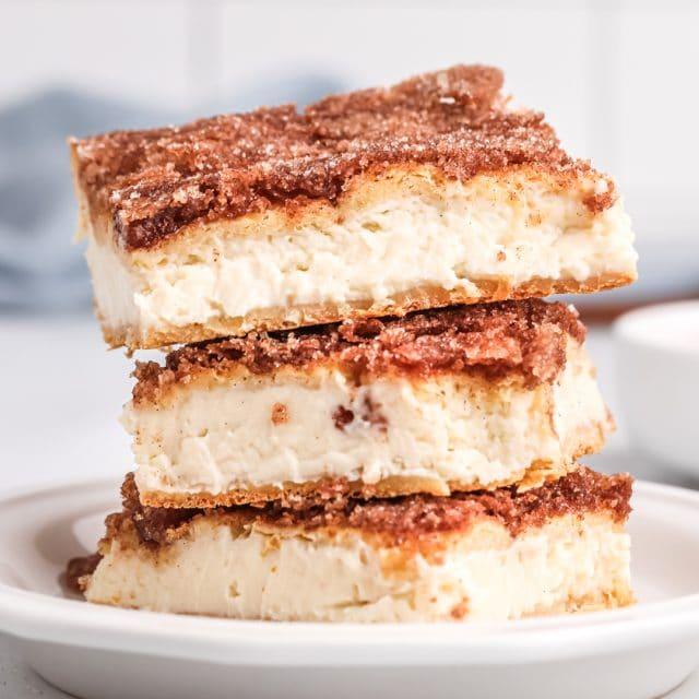 stack of three sopapilla cheesecake bars