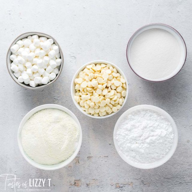 ingredients for white hot chocolate