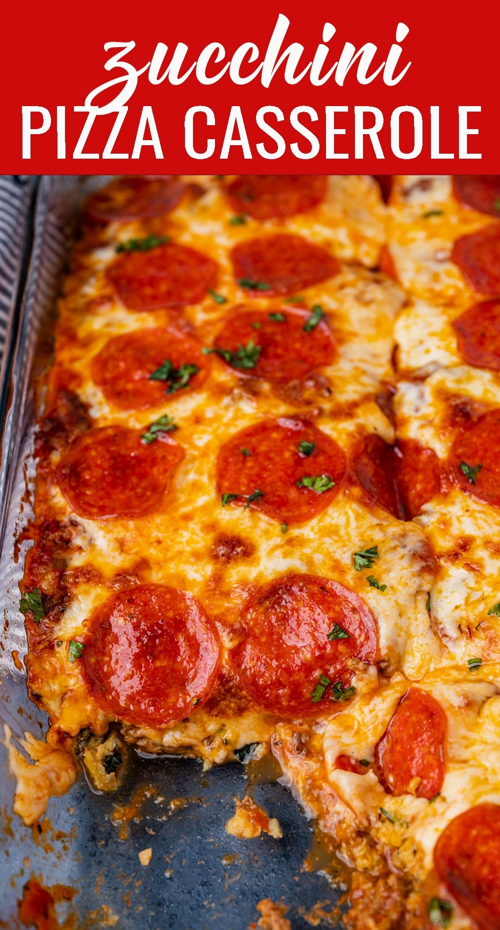 Low carb never tasted so good! Zucchini pizza casserole loaded with a meat sauce, mozzarella and pepperoni. Top with your favorite pizza toppings. via @tastesoflizzyt